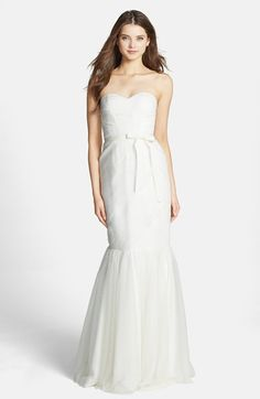 "This Monique Lhuillier ""Bridesmaids"" Dress in white looks like a perfect (and budget savvy) wedding gown to me! Only $350!"