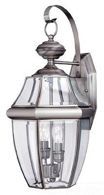 $158.00 Sea Gull 2-Light Lancaster Medium Outdoor Wall Lantern, Clear Beveled Glass, Antique Brushed Nickel; 8039-965  Visit Crescent Electric Supply Company today!  www.cesco.com