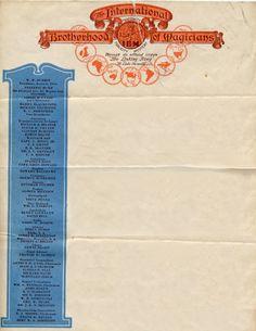 international brotherhood of magicians letterhead, 1930.