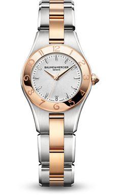 Baume & Mercier Linea  Quartz Women's Watch, Gold Tone, Silver Dial