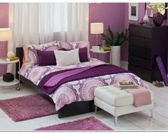 Bedrooms Amazing Bedroom Decorating Idea With Brown Wall Plum Color Wall Decoration Designs models examples 2016