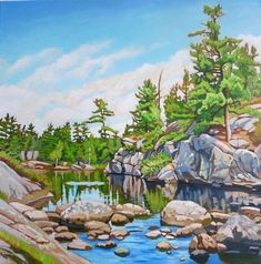 Stepping Stones by Anna Clarey, Acrylic on Canvas | Koyman Galleries Watercolor Landscape, Landscape Paintings, Landscapes, Your Paintings, Original Paintings, Anna, Mini Canvas Art, Art Pictures, Art Pics