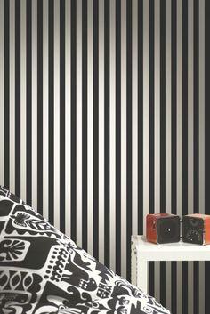A strong, precise mid-scale even stripe design by Marimekko.