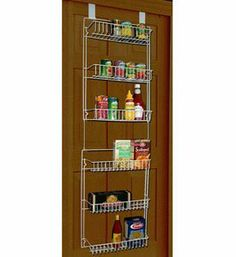 5 foot Vinyl Covered Steel Overdoor Storage Basket Rack by Trademark. $14.97. Over the door square hanging hooks fit on doors measuring 1 3/4 inch thick.. Mounting hardware for reinforcement or simple wall mounting is also included.. A white vinyl finish covers a durable steel frame.. Two piece design lets you create either one six basket storage unit or two separate organized spaces.. Each storage basket measures 15 1/2 inch wide x 2 1/4 inch high x 4 1/2 inch deep...