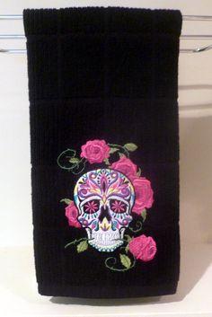 Sugar skull towel CUSTOM kitchen bathroom Dia de los Muertos skull rose Mexico. $16.00, via Etsy.