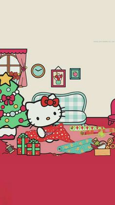 Hello Kitty Art, Hello Kitty My Melody, Hello Kitty Images, Sanrio Hello Kitty, Sanrio Wallpaper, Holiday Wallpaper, Hello Kitty Wallpaper, Hello Kitty Christmas, Christmas Cats