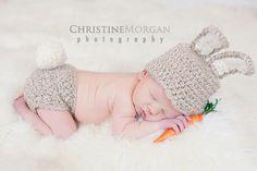 Crochet Bunny Rabbit Hat and Diaper Cover Set - Crochet Photography Prop - Newborn. $60.00, via Etsy.