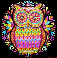 "Colorful Owl Art by Thaneeya McArdle - The line art for this owl will appear in ""Nature Mandalas Coloring Book"" by Thaneeya McArdle"