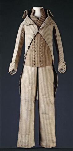 From Palais Galliera in Paris --- suit coat, vest and wide leg trousers  said to have been worn by Louis XVII, Louis Charles De France, Duc De Normandie (1785-1795)  vue d'un habit, gilet et culotte ayant appartenu à Louis XVII