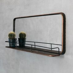 Ola Copper Mirror with Shelf Wall Mirror With Shelf, Black Wall Mirror, Small Mirrors, Round Mirrors, Industrial Mirrors, Copper Mirror, Home Decor Kitchen, Family Kitchen, Kitchen Dining