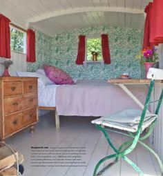 Shed Decor by Sally Coulthard Shed Decor, Home Decor, Gypsy Caravan, Good House, Guest Room, Cottage, Diy Crafts, Caravans, Interior Design