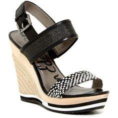 Sam Edelman Korinne Platform Wedge Sandal ($100) ❤ liked on Polyvore featuring shoes, sandals, black, black shoes, sam edelman sandals, black strap sandals, slingback sandals and black slingback sandals