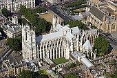 Westminster Abbey, London, bird's eye view@1@ most famous& iconic Gothic churches@ world. Monastery consecrated in 1066, was transformed largely by Henry II@ Gothic building that was not completed til 250 yrs later.Place of worship@ this location for 1,000+  yrs. 3000+ people buried/ memorialized@ Abbey from medieval kings& queens to poets&architects, painters& scientists .