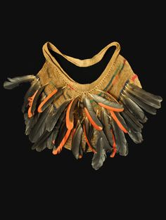 "Billum bag  West Sepik, Papua New Guinea  22"" wide, 14"" high, including feathers  20th century"