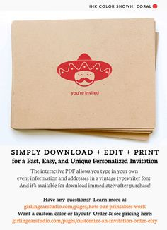 Printable Sombrero Party Invitations for Cinco de Mayo party