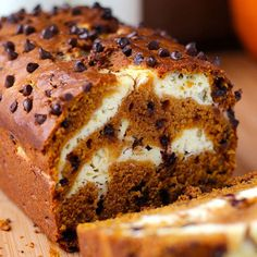 Take your pumpkin bread to the next level. The swirl of cream cheese filling and chocolate chips make this Cream Cheese Pumpkin Bread a must-make fall treat. Find Your Cup of Cake's recipe here./