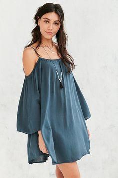 Ecote Fable Cold Shoulder Frock Dress #urbanoutfitters #blue #dress #offshoulder