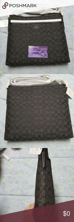 NWT Coach signature file bag crossbody in gray NWT Coach signature file bag crossbody in smoke (charcoal gray) and black Coach Bags Crossbody Bags