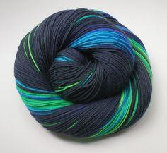 fingering weight sock yarn hand dyed superwash merino nylon PEACOCK 4 oz. $26.00, via Etsy.
