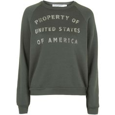 Property Of USA Sweatshirt by Project Social T ($58) ❤ liked on Polyvore featuring tops, hoodies, sweatshirts, khaki, sweatshirt hoodies, pattern tops, sweat shirts, print top y project social t
