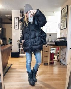 What I Wore. I am wearing a black puffer jacket, grey beanie, skinny jeans, and a pair of Sorel Sweaters And Jeans, Ugly Sweater, Jeans And Boots, Winter Outfits, Summer Outfits, Casual Outfits, Winter Clothes, Simple Outfits, Jean Outfits