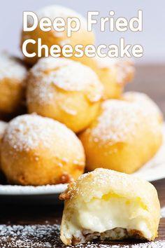 Deep Fried Cheesecake bites recipe and video - Yuki Alegre Donut Recipes, Baking Recipes, Real Food Recipes, Snack Recipes, Dessert Recipes, Breakfast Recipes, Snacks, Fried Cheesecake Bites Recipe, Cheesecake Recipes