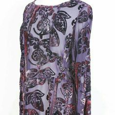 West End Tunic ***LET'S GET READY TO BUNDLE*** West End Purple Burnout Velvet Floral Print Tunic  Size S Tops Tunics