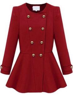 Abrigo volante doble botonadura manga larga-Rojo EUR€21.43