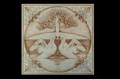 Pyrography Wood Burning Swans' Romance by SantoArt on Etsy