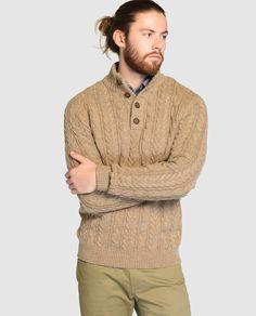 Jersey de hombre Arrow marón con el cuello alto