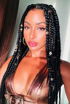 Keep reading for some major box braids inspo, from loose braids to half updos or messy ponytails, as well as the best practices to protect your hair while in braids! Twist Box Braids, Large Box Braids, Medium Box Braids, Jumbo Box Braids Styles, Box Plaits, Crown Braids, Medium Hair Styles, Curly Hair Styles, Natural Hair Styles