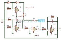 Active Crossover Circuit Diagram. Circuit Components:  LM833Dual High-Speed Audio Operational Amplifier – 2;  24k Resistors (1/4 watt) – 7;  6.2k Resistors (1/4 watt) – 2; 6.8nF capacitors – 3; Audio jack; Connecting wires; Breadboard.