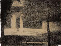 Georges Seurat, La Grille, 1882-1884 Conté crayon