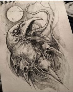 Dark Art Drawings, Tattoo Design Drawings, Tattoo Sketches, Cool Drawings, Pencil Drawings, Art Drawings Sketches, Tattoo Designs, Dark Art Tattoo, Raven Tattoo