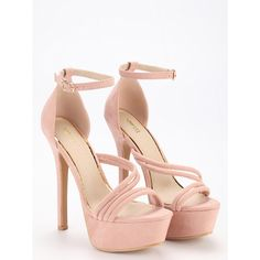 SheIn(sheinside) Pink Strap Platform High Heel Sandals ($31) ❤ liked on Polyvore…