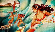 Another lovely Kat Reeder peice. Capturing the Female Spirit Hawaiian Girls, Hawaiian Art, Hawaiian Tropic, Polynesian Art, Pin Up Girl Vintage, Tropical Art, Tropical Paradise, Surf Art, Beach Art
