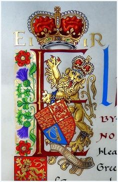 Coats of Arms, Heraldry, Heraldic Art & Illuminated Manuscripts: Illuminated Royal Initial E of Her Majesty Queen Elizabeth II painted by English Artist Andrew Stewart Jamieson in Medieval Manuscript, Medieval Art, Illuminated Letters, Illuminated Manuscript, Illumination Art, Book Of Kells, Book Of Hours, Calligraphy Letters, Islamic Calligraphy