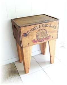 Moosehead Lager Beer Shipping Crate Table Dovetail Box Vintage advertising Distressed UPcycled and Renewed