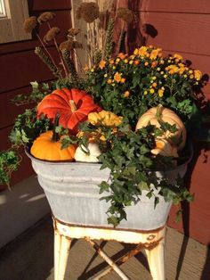 Creative Diy Fall Planters Ideas You Will Simply Adore - Garden Best Home Design Autumn Decorating, Porch Decorating, Decorating Ideas, Pumpkin Display, Fall Containers, Succulent Containers, Fall Arrangements, Fall Planters, Garden Planters