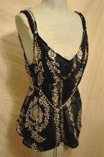 Womens White House Black Market Silk Black Floral Sleeveless Top with Tie Size L