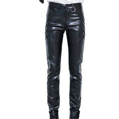 Idopy Men`s Black Slim Fit Soft PU Faux Leather Biker Pants ($21) ❤ liked on Polyvore featuring men's fashion, men's clothing, men's pants, men's casual pants, mens slim pants, mens slim fit pants, mens faux leather pants, mens pants and mens wide leg pants