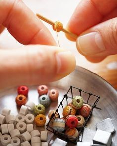 inspiration: miniature knitting yarn {The patience you have to have for making mini's.....WOW! I don't think I could do it.}