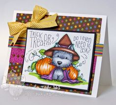 This cute spooky witch puppy dog is perfect for a Halloween card! Find more digital stamps provided by Tiddly Inks for fun, creative card crafting! Dog Cards, Kids Cards, Tiddly Inks, Ink Stamps, Fun Challenges, Halloween Coloring, Penny Black, Card Making Inspiration, Copics
