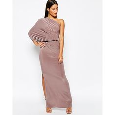 Club L One Shoulder Draped Maxi Dress With Thigh Split featuring polyvore, women's fashion, clothing, dresses, mocha, body con dress, maxi cocktail dress, tall dresses, draped maxi dress and one shoulder dress