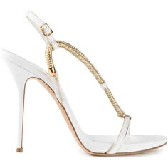 CASADEI strappy chain sandals (16 365 UAH) ❤ liked on Polyvore featuring shoes, sandals, white sandals, open toe sandals, white ankle strap sandals, ankle strap stilettos and ankle wrap sandals