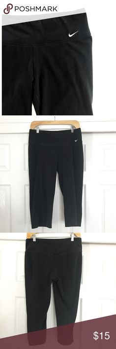 """Nike Dri Fit Black Workout Capris Workout, exercise capri pants. Not fitted on leg. Inseam approx 19.5"""". Black but a bit faded from wash. Nike Dri-Fit, size medium. Nice for working out or lounge wear!61% cotton 33% polyester 6% spandex. Nike Pants"""