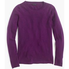 J.Crew Collection Cashmere Long-Sleeve T-Shirt ($265) ❤ liked on Polyvore featuring tops, t-shirts, shirts, purple long sleeve t shirt, purple t shirt, j.crew, tissue tee and longsleeve t shirts