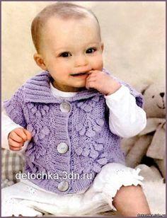 Вязаный жилет и вязаная кофточка для малышей - Вязание кофт и жакетов для…