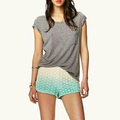 forever 21 Crochet Ombré Shorts Worn once  Excellent condition  Size large Forever 21 Shorts