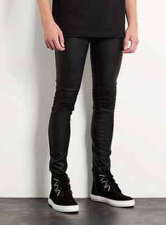 Black Leather Look Biker Spray On Skinny Jeans featured in crossways!